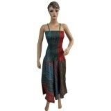 "Womens Cotton Tie Dye Stripes Printed Chic Long Spaghetti Smocked Dress 48"" (Apparel)  #Dress"
