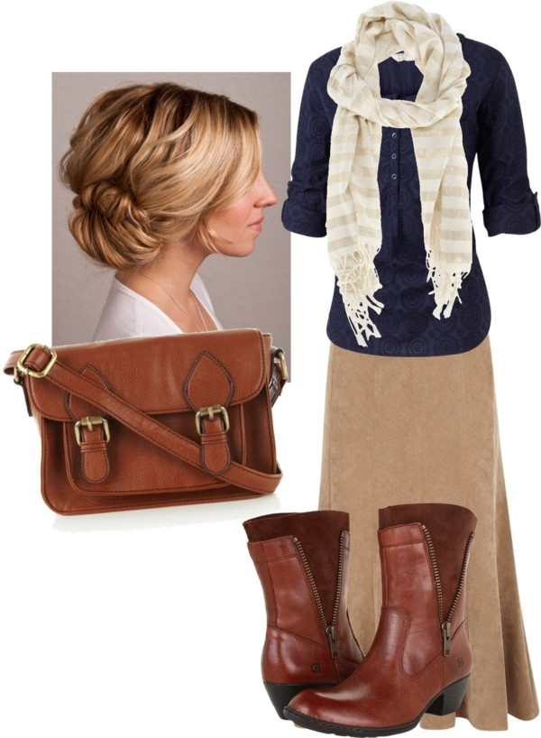 Love the colors. Love the style. Khaki, ivory, navy, and leather.