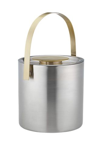 Outfit Your Home Bar In Style - CB2 Brushed stainless steel and brass ice bucket, $34.99, available at CB2