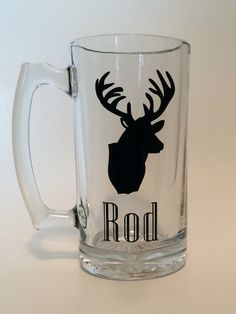 Father's Day personalized glass mug with cricut vinyl deer.