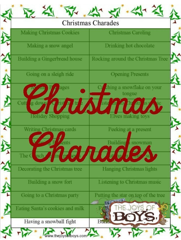 Our family loves to play charades!  This Christmas charades game would be perfect for our family Christmas party!
