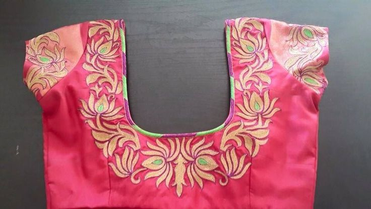 Thread embroidered pink blouse