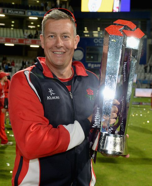 Ashley Giles Photos Photos - Lancashire coach Ashley Giles celebrates winning the NatWest T20 Blast Final between Lancashire Lighting and Northamptonshire Steelbacks at Edgbaston on August 29, 2015 in Birmingham, England. - Northamptonshire v Lancashire - NatWest T20 Blast Final