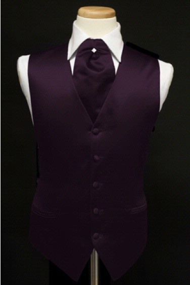 Groom attire ascot eggplant purple