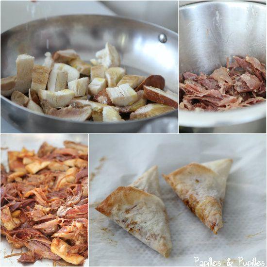 Preparation du samossa confit cepes