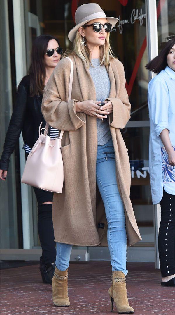 Rosie Huntington beige long coat street style
