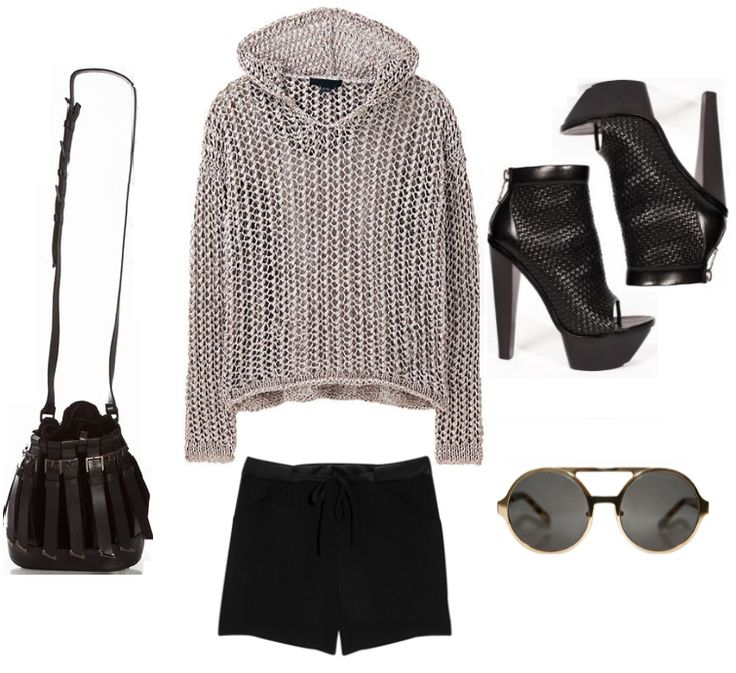 sweater : ALEXANDER WANG  shorts : HELMUT LANG  shoes : ALEXANDER WANG  bag : VERSUS  sunglasses : KAREN WALKER