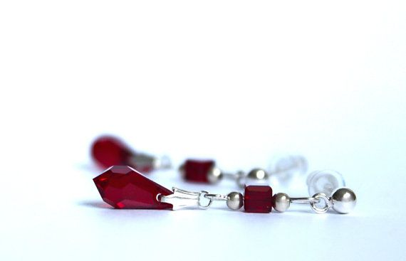 Sterling silver stud earrings with blood red by YUKIJewellery, €18.50