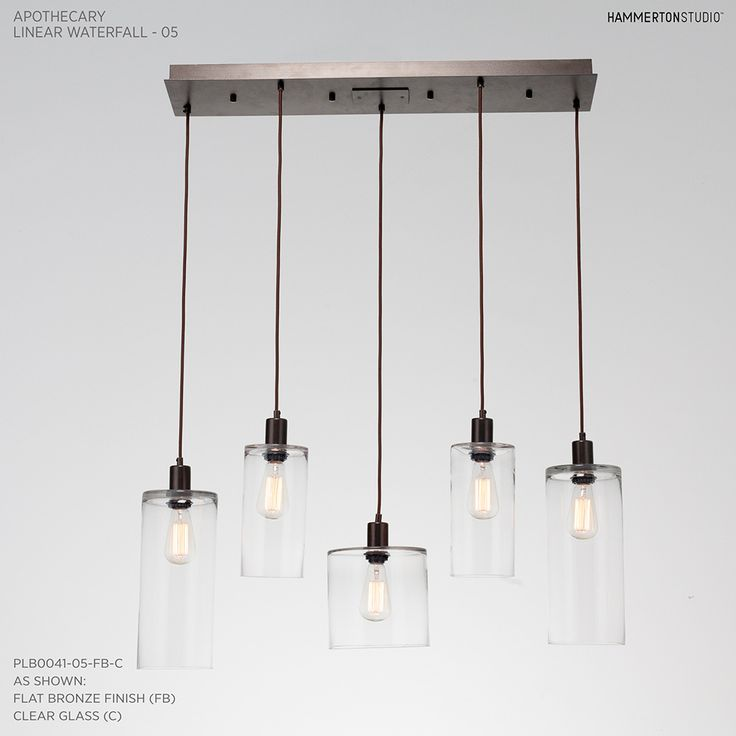 Apothecary multi port linear waterfall chandelier contemporary glass metal lighting by hammerton