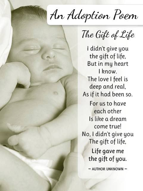 "An adoption poem for the adoptive parents and parents-to-be: ""…I didn't give you the gift of life, life gave me the gift of you.""  Remember to lift up your child's (or…"