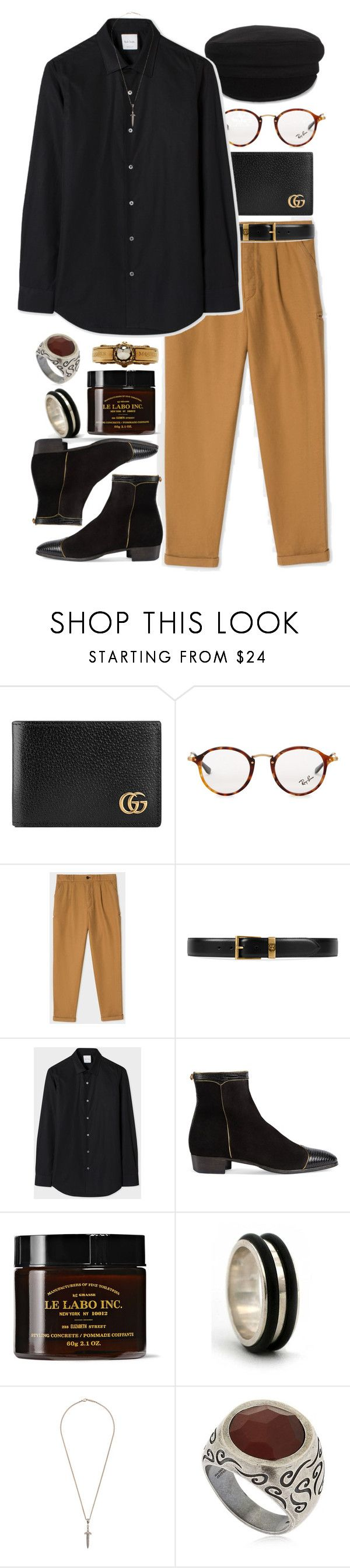 """Inspired by Harry Styles"" by nikka-phillips ❤ liked on Polyvore featuring Gucci, Ray-Ban, Étoile Isabel Marant, PS Paul Smith, Paul Smith, Le Labo, NOVICA, Roman Paul, Marco Ta Moko and Alexander McQueen"