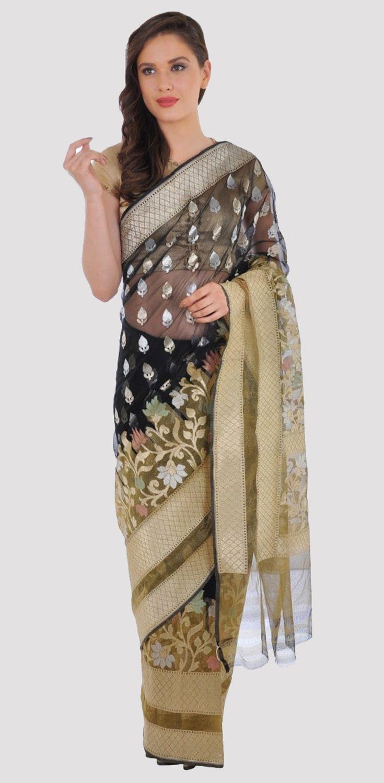 Black And Gold Banarasi Zari Handwoven Pure Silk Net Saree