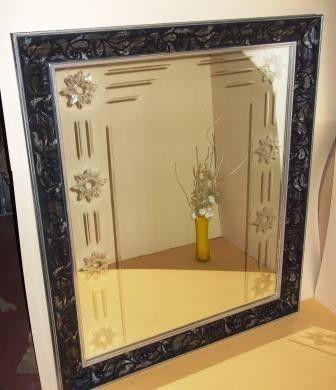 Cuadro con espejo con cenefa grabada