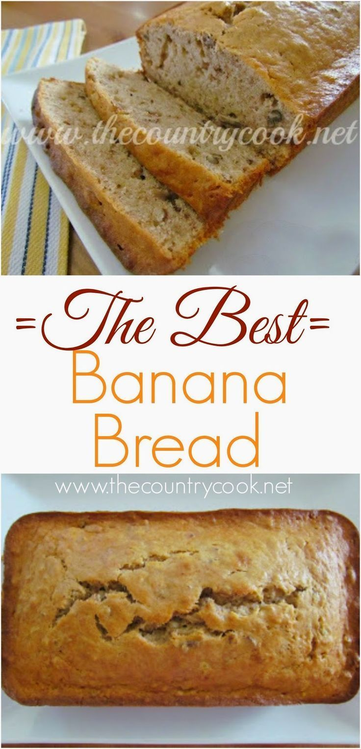 The Best Banana Bread Recipe from The Country Cook. Homemade doesn't get tastier or yummier than this!! So easy and bonus - it uses melted butter. Amazing!
