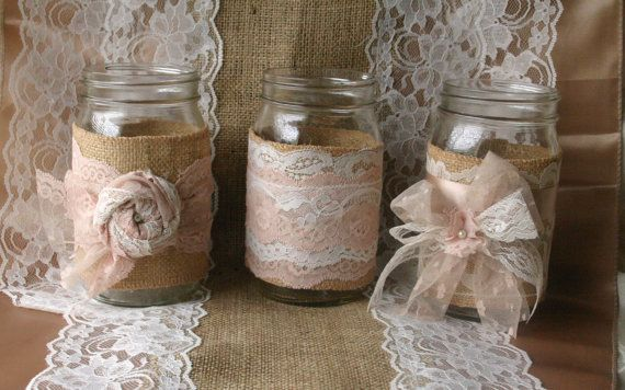 Burlap wedding VINTAGE lace wedding JARs wedding by Bannerbanquet
