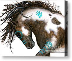 Native American Canvas Prints - Majestic Horse #151 Canvas Print by AmyLyn Bihrle