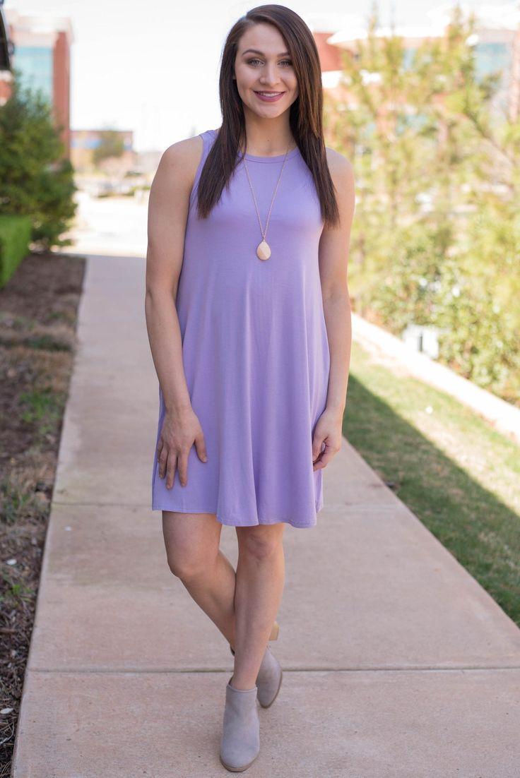 Piko tank swing dress light purple from Lush Fashion Lounge