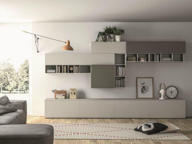 Módulo de arrumação de parede secional lacada SLIM 89 Coleção Slim by Dall'Agnese | design Imago Design, Massimo Rosa