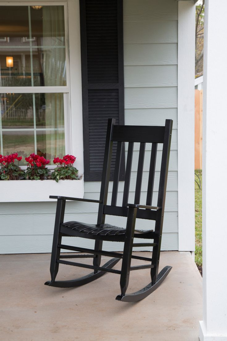 "As seen on HGTV's ""Fixer Upper.""Black Shutters On Front Porch, Fixer, Chairs, Beautiful Porches, Boxes, Exterior Colors, Colors Schemes, House, Front Porches"