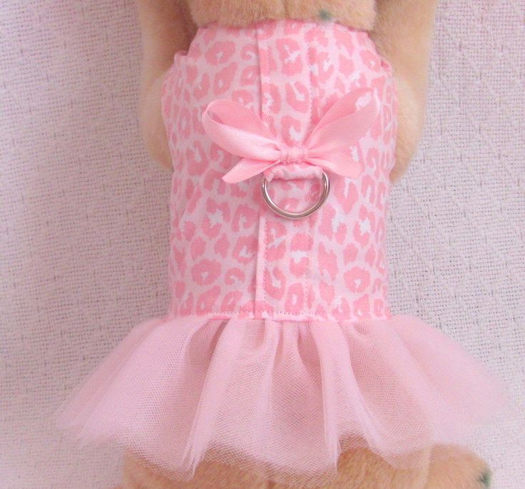 XS Dog Clothes PINK PANTHER TUTU Outfit Harness Dress Girl Female THE WHITE PEACOCK