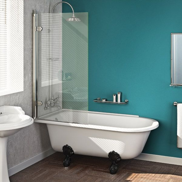 clawfoot tub with glass shower enclosure , small space and color