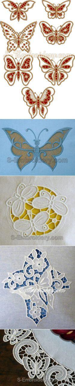 >Бабочки. Вышивка Решилье   Ришелье   Постила