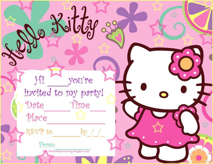 hello kity party pics   Hello Kitty Printable Birthday Party Invitations free download. Get ...