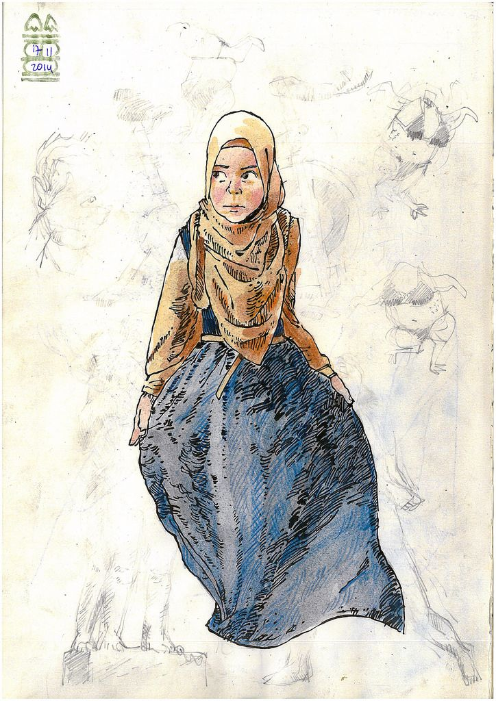 Girl in Hijab   A practice in drawing folds and creases in clothing.