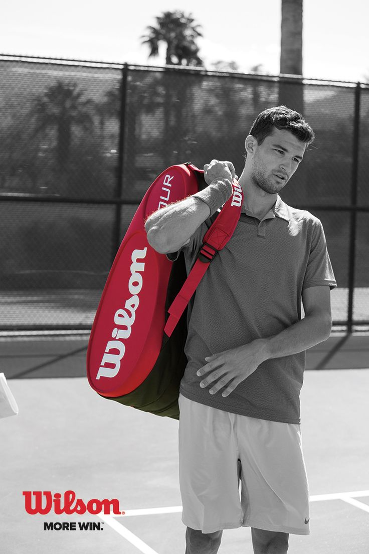 Grigor Dimitrov carrying the new Wilson Tour tennis bag. Dimitrov is one tennis player. He is like tennis games.