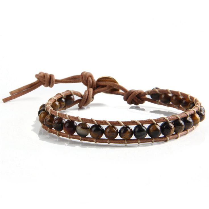 Natural Stone Beaded Bracelet with Leather Cord //Price: $13.95 & FREE Shipping //   #fitness