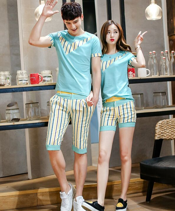 Korean The Latest Design Color Block Striped Printed Cool Couple Suit