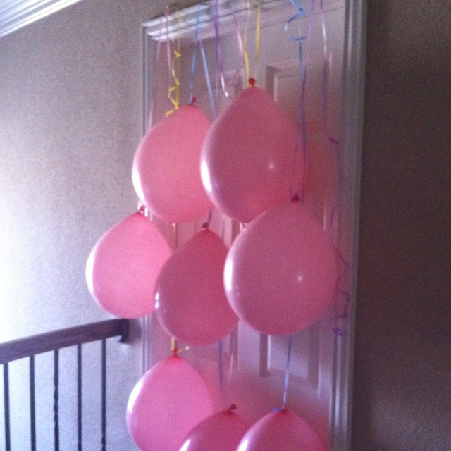 Birthday balloon door surprise for Charlotte's 3rd birthday