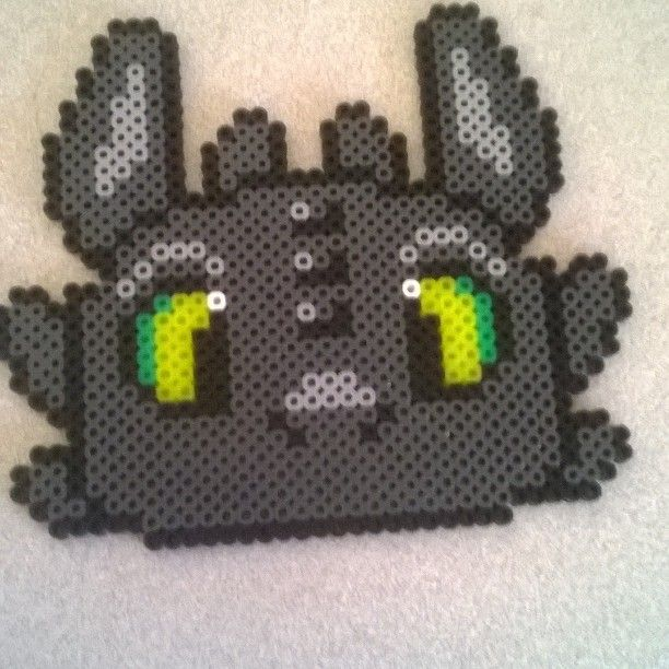Toothless How to train your dragon perler beads by otaku209