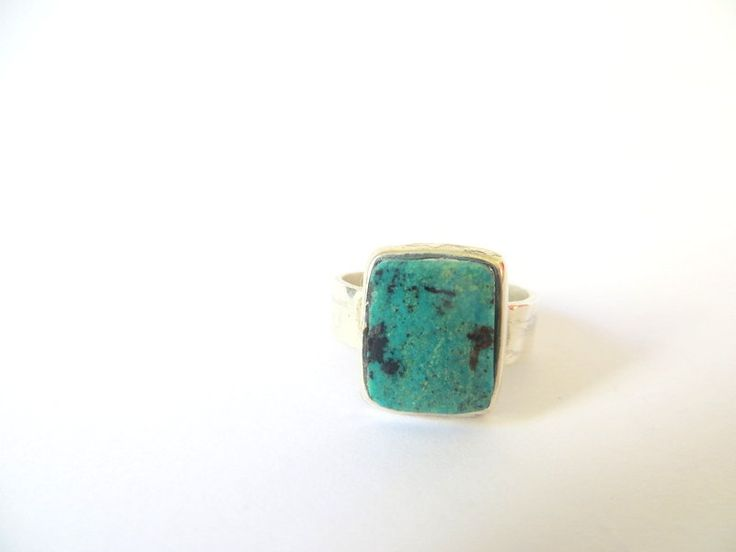 Sterling Silver Square Turquoise Ring by Picossa on Etsy