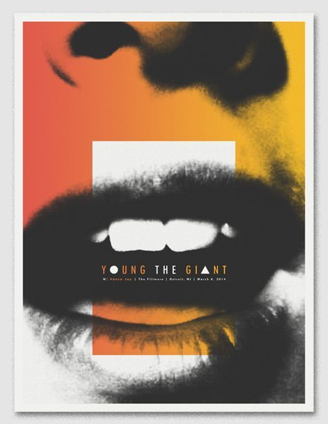 "Young The Giant>>>I love the color/black&white and how its switch and draws you into the mouth to see in scale the bands name ""Young The Giant"". Brilliant!"