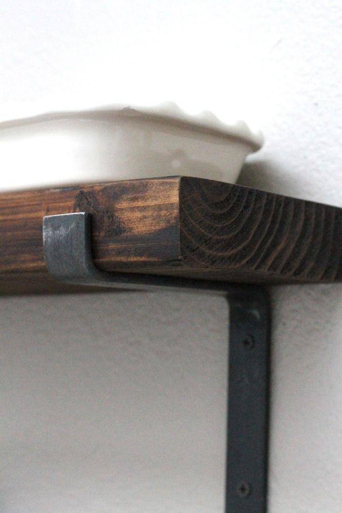 Steel Shelf Brackets for Reclaimed Wood Shelves | modern farmhouse