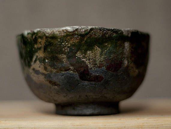 Ceramic chawan tea cup raku unique rainbow green copper