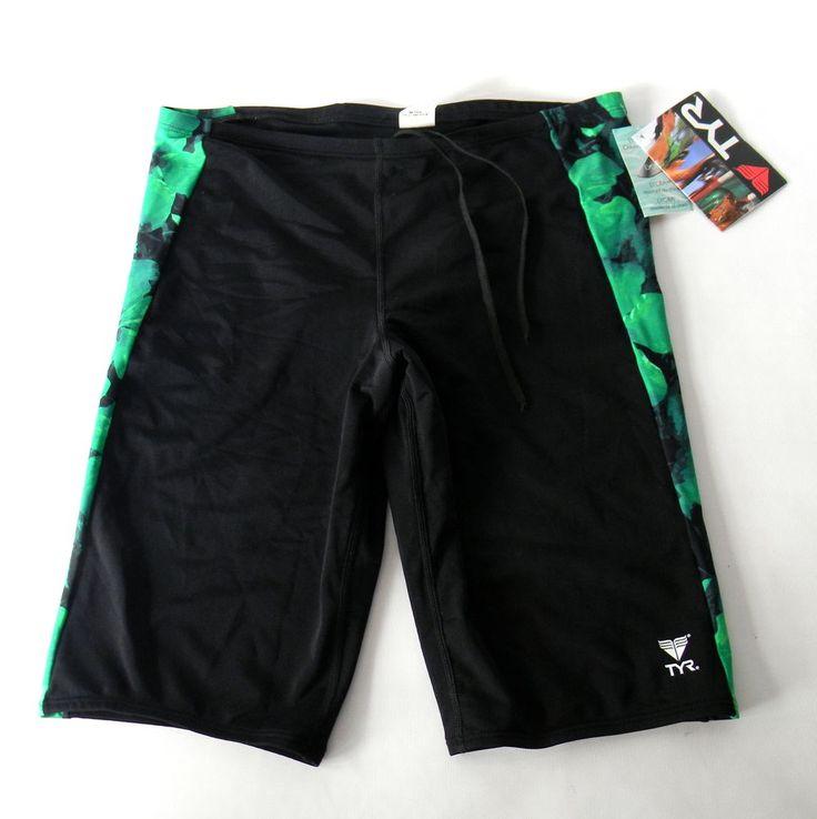 TYR Men's swimsuit Aloha Jammer Black Green Size 38 #TYR #BoardShorts