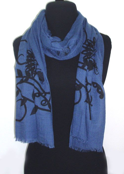 stensil flower patterns on cotton fabric scarf.fashion woman accessories.