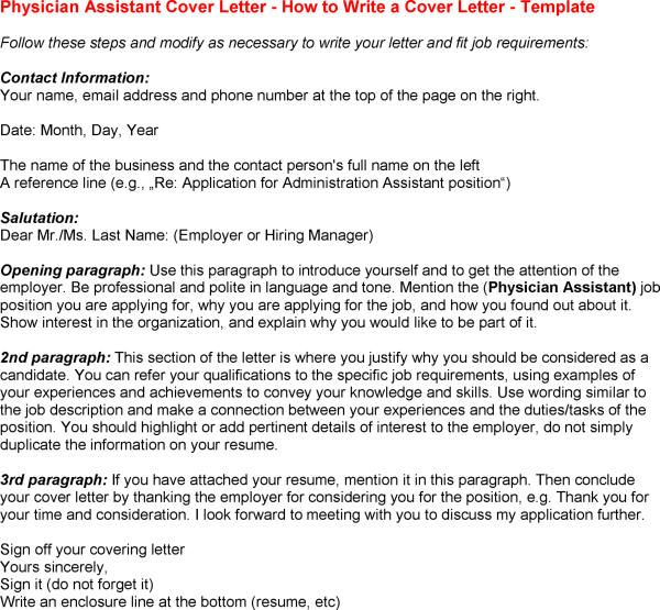 New Physician Assistant Cover Letter Sample