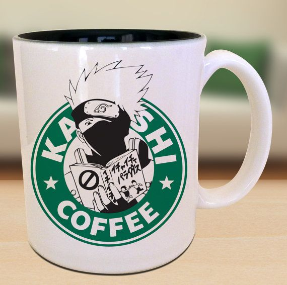 ***MUGS ARE COLORED BLACK INSIDE**** Kakashi X Naruto X Starbucks ceramic 11oz mug available. Perfect for your morning tea or coffee! Also,