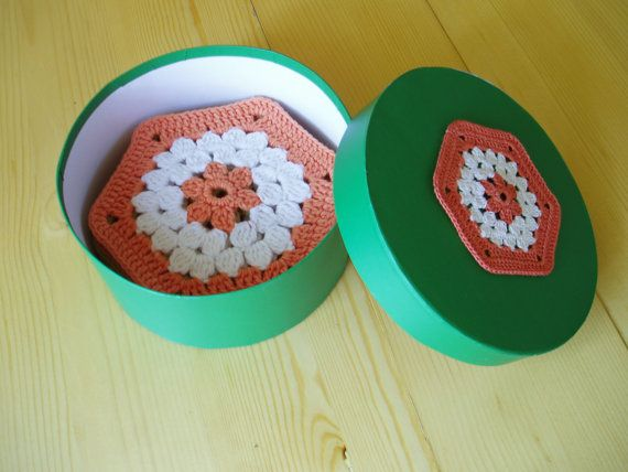What a great way to hold your crocheted coasters. Multicoloured Cup PadsCrochet Coasters Set of by TaniaNeedleArt, $24.90