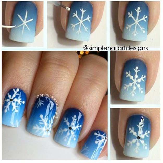 Cool DIY Nail Art Designs und Muster für Weihnachten und Feiertage – DIY Snowfl…