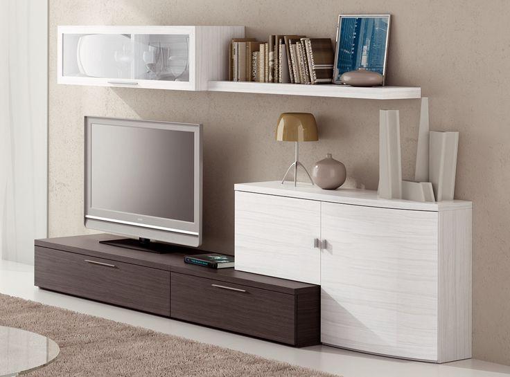 731 €  /  SALÓN MODELO CHER 5  /  Mueble de 270 cm para salón, en color ceniza y albian.  /  http://www.hiper-mueble.com/composicion-salones/cher-5