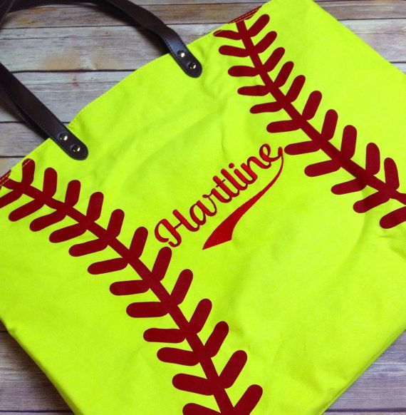 Softball Tote bags Canvas Tote Monogram Tote by StitchandQuilt