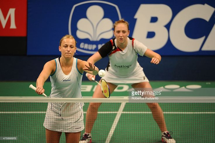 Eefje Muskens and Selena Piek of Netherland return a shot against Heather Olver and Lauren Smith of England during the 2015 BCA Indonesia Open Round 2 match on June 4, 2015 in Jakarta, Indonesia.