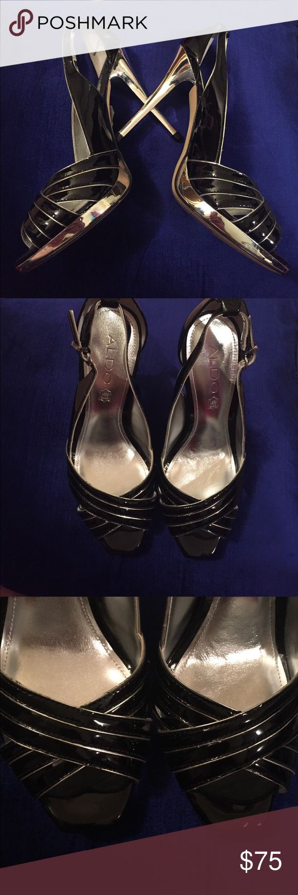 """Aldo Black and Silver Open Toe Heels 4.5"""" mirrored silver heel with small platform.  Buckled in back.  🚫No Trades🚫 Aldo Shoes Heels"""