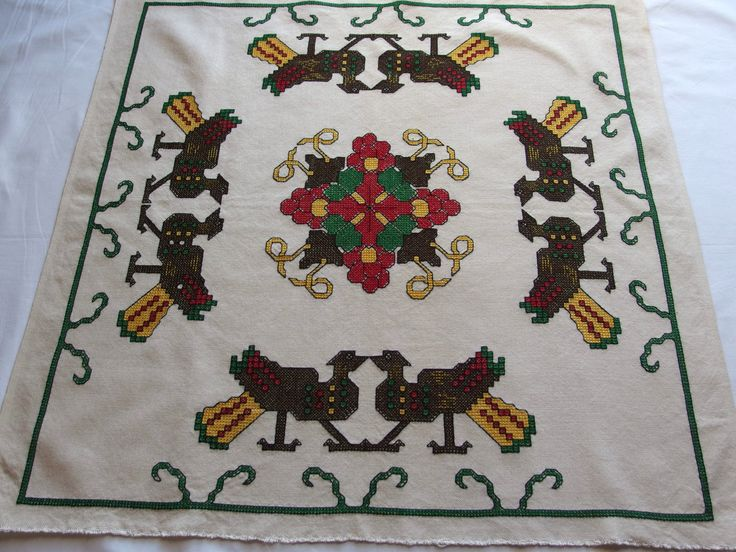 Vintage Embroidered Large Pillow cover Tablecloth Wall hanging Birds Flower Square Counted Cross stitch by VintageHomeStories on Etsy #Vintage #HomeDecor #home #Decor #Embroidery #crossstitch #pillow #wallhanging #wall #Birds