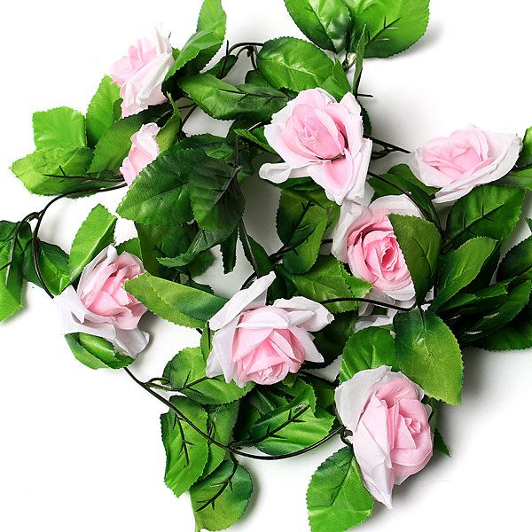 2.5m Artificial Silk Rose Flower Leaf Garland Wedding Party Home Decor