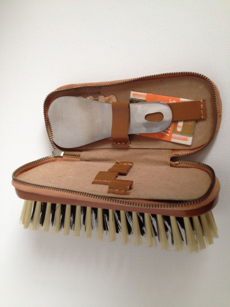 Leather Grooming Brush Shoe Buffer Sewing Kit Made in Germany Shoehorn Inside Zip Compartment by aroundtheclock on Etsy